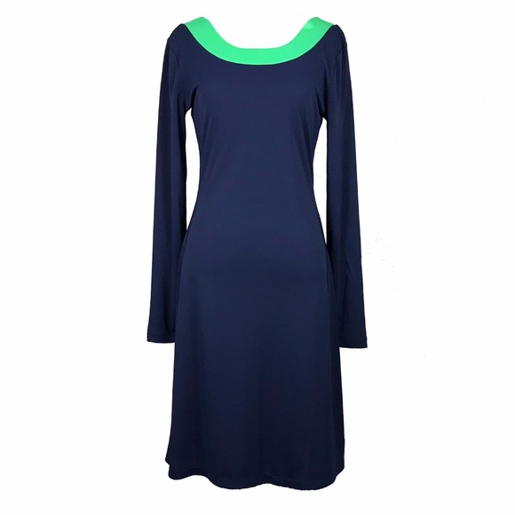 Isaac Mizrahi Dresses & Skirts - Isaac Mizrahi Navy and Green Long Sleeve Mod Dress
